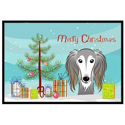 Christmas Tree and Saluki Doormat Mat Size: 2 x 3