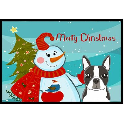 Snowman with Boston Terrier Doormat Rug Size: 2 x 3