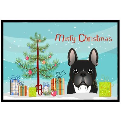 Christmas Tree and French Bulldog Doormat Rug Size: 2 x 3
