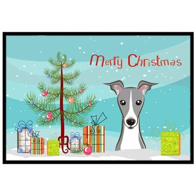Christmas Tree and Italian Greyhound Doormat Rug Size: 2 x 3