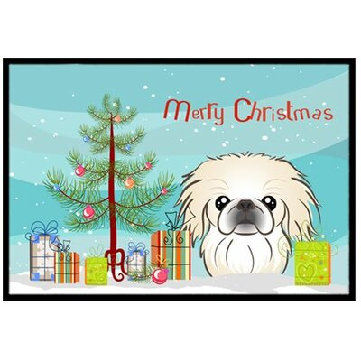 Christmas Tree and Pekingese Doormat Mat Size: 2 x 3