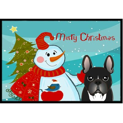 Snowman with French Bulldog Doormat Mat Size: 2 x 3