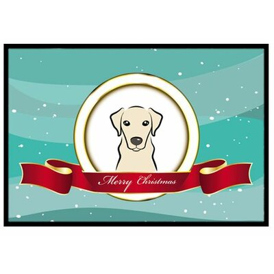 Yellow Labrador Merry Christmas Doormat Mat Size: 2' x 3'