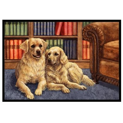 Golden Retrievers in the Library Doormat Mat Size: 2 x 3