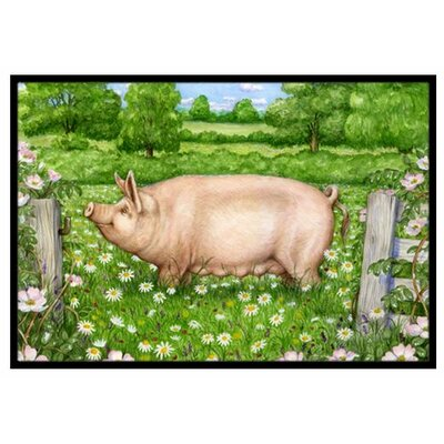 Pig In Dasies Doormat Mat Size: 16 x 23