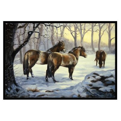 Horses in Snow Doormat Mat Size: 16 x 23
