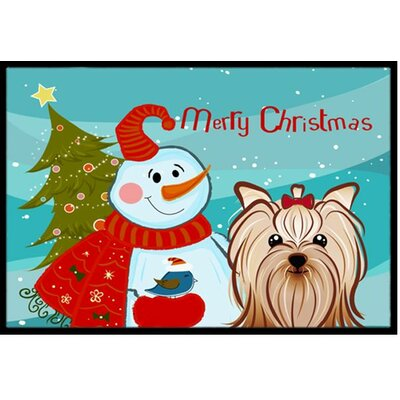 Snowman with Yorkie Yorkshire Terrier Doormat Mat Size: 2 x 3
