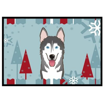 Winter Holiday Alaskan Malamute Doormat Mat Size: 2 x 3