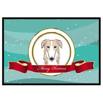 Borzoi Merry Christmas Doormat Rug Size: 16 x 23