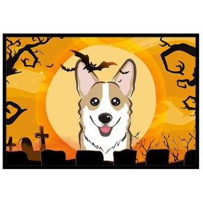 Halloween Corgi Doormat Rug Size: 2 x 3, Color: Gray/White/Brown