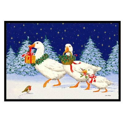 Three Geese and Gifts Doormat Mat Size: 16 x 23