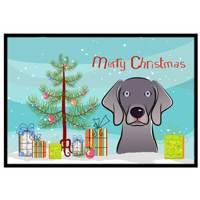 Christmas Tree and Weimaraner Doormat Rug Size: 2 x 3