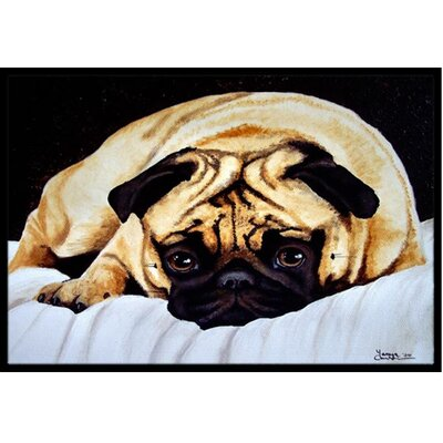 Fred the Pug Doormat Rug Size: 16 x 23