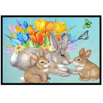 Bunny Family Easter Rabbit Doormat Rug Size: 2 x 3