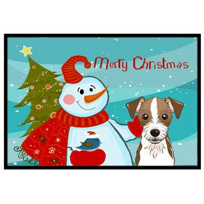 Snowman with Jack Russell Terrier Doormat Mat Size: 16 x 23