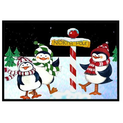 North Pole Welcomes You Penguins Doormat Rug Size: 2 x 3