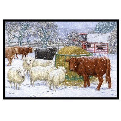 Cows and Sheep in the Snow Doormat Mat Size: 16 x 23