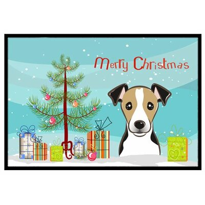 Christmas Tree and Jack Russell Terrier Doormat Mat Size: 16 x 23