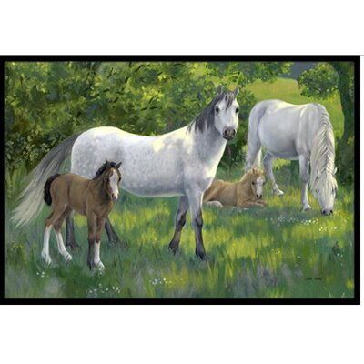 Group of Horses Doormat Rug Size: 2 x 3