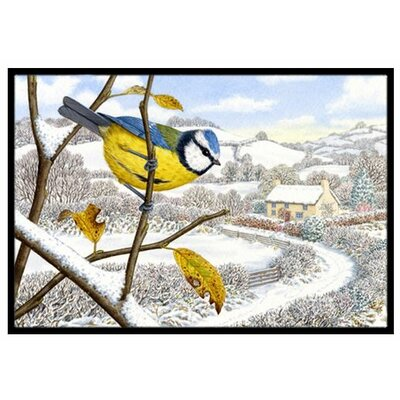 Winter Eurasian Blue Bird Doormat Rug Size: 16 x 23