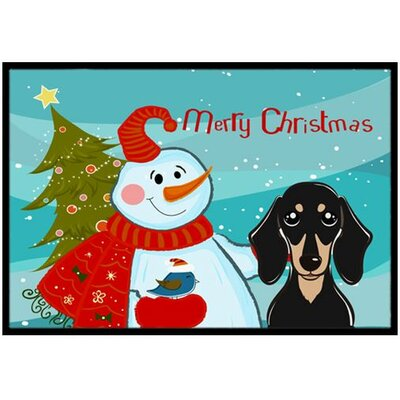 Snowman with Smooth Black and Tan Dachshund Doormat Mat Size: 16 x 23
