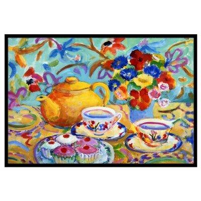 Teal Tea Doormat Rug Size: 16 x 23