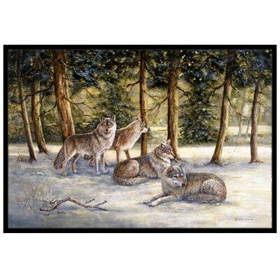 Wolves Doormat Rug Size: 16 x 23