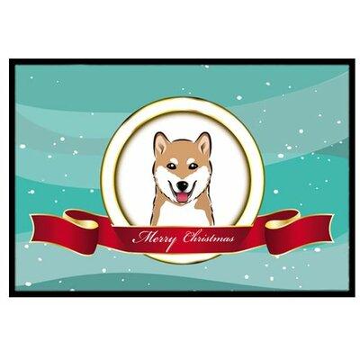 Shiba Inu Merry Christmas Doormat Rug Size: 16 x 23