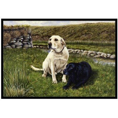 Yellow and Black Labradors Doormat Mat Size: 2 x 3