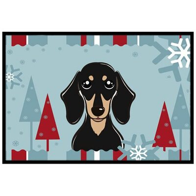 Winter Holiday Smooth Black and Tan Dachshund Doormat Rug Size: 16 x 23