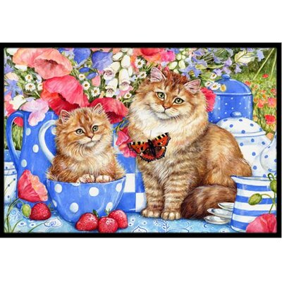Blue Cats Doormat Mat Size: 2 x 3