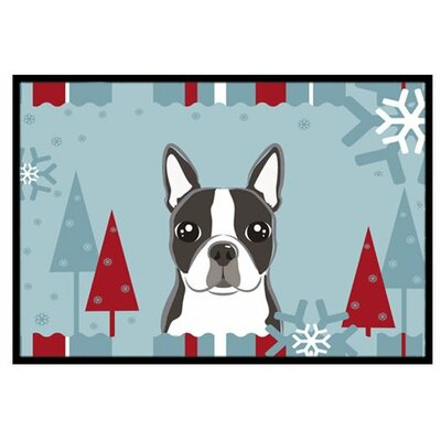 Winter Holiday Boston Terrier Doormat Rug Size: 2 x 3