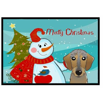 Snowman with Wirehaired Dachshund Doormat Mat Size: 2 x 3