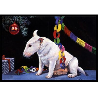 Bull Terrier under the Christmas Tree Doormat Rug Size: 2 x 3