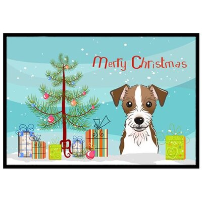 Christmas Tree and Jack Russell Terrier Doormat Rug Size: 2 x 3