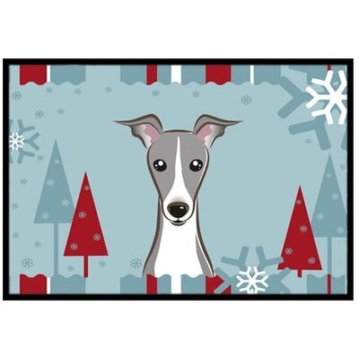 Winter Holiday Italian Greyhound Doormat Mat Size: 16 x 23