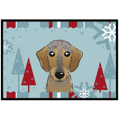 Winter Holiday Wirehaired Dachshund Doormat Mat Size: 2 x 3