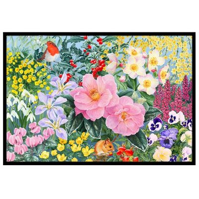 Winter Floral Doormat Mat Size: 2 x 3