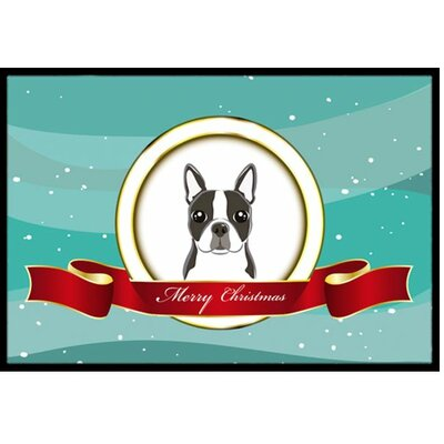 Boston Terrier Merry Christmas Doormat Rug Size: 2 x 3
