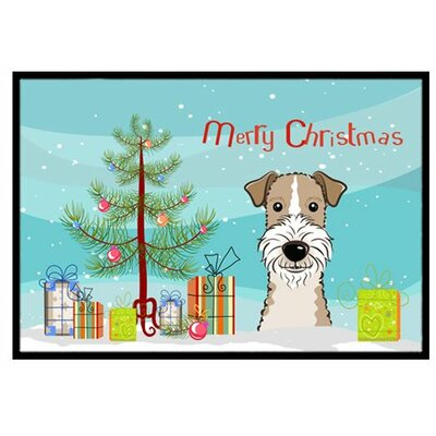 Christmas Tree and Wire Haired Fox Terrier Doormat Mat Size: 2 x 3