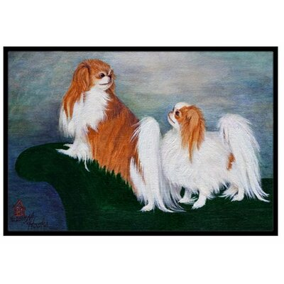Japanese Chin Standing on My Tail Doormat Mat Size: 2 x 3