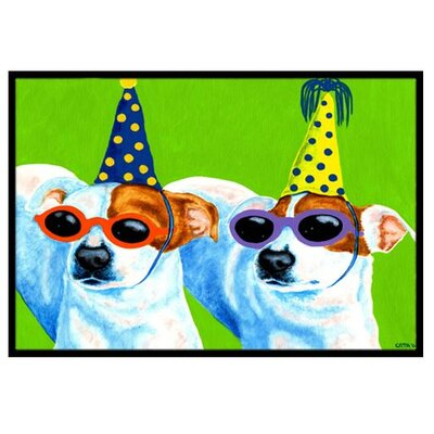 Party Animals Jack Russell Terriers Doormat Mat Size: 16 x 23