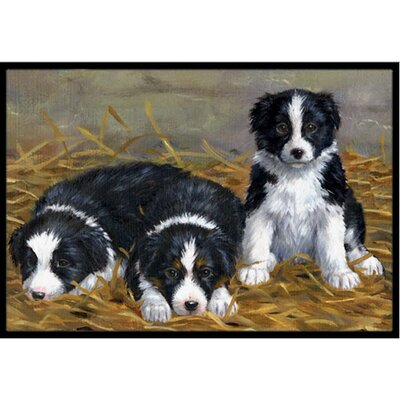 Border Collie Puppies Doormat Mat Size: 2 x 3