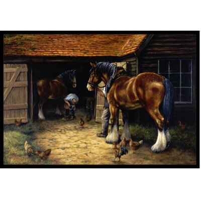 Horse and the Blacksmith Doormat Mat Size: 2 x 3