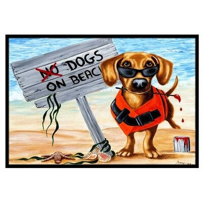 The Dog Beach Dachshund Doormat Rug Size: 2 x 3