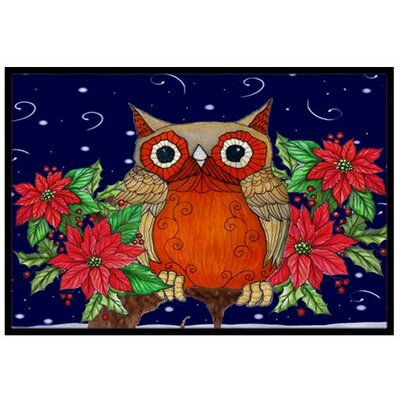 Whose Happy Holidays Owl Doormat Mat Size: 2 x 3