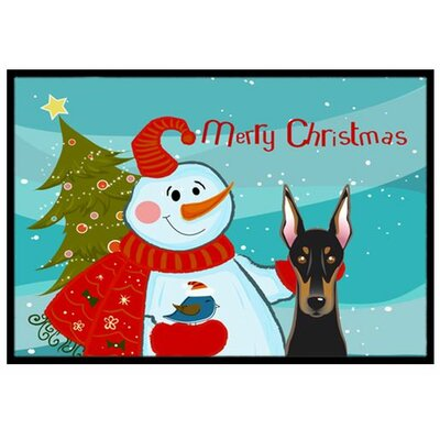 Snowman with Doberman Doormat Mat Size: 2 x 3