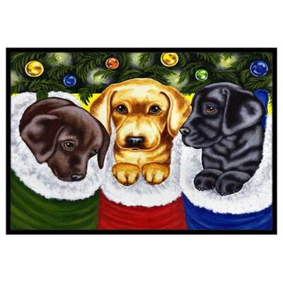 Christmas Stocking Surprise Labrador Doormat Mat Size: 16 x 23