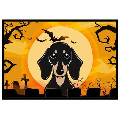 Halloween Smooth Black and Tan Dachshund Doormat Rug Size: 16 x 23