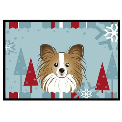 Winter Holiday Papillon Doormat Mat Size: 16 x 23